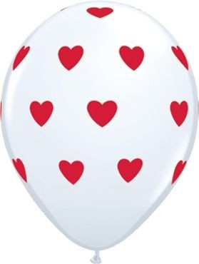 "Qualatex Latexballon Big Hearts White 28cm/11"" 6 Stück"