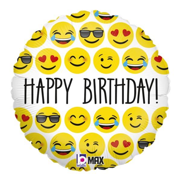 """Betallic Folienballon Emoji Birthday 45cm/18"""""""