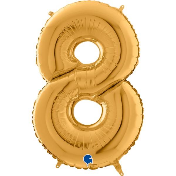 "Grabo Folienballon Zahl 8 Gold 66cm/26"""
