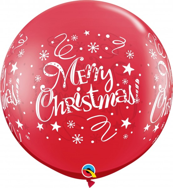 "Qualatex Latexballon Merry Christmas Festive Red 90cm/36"" 2 Stück"