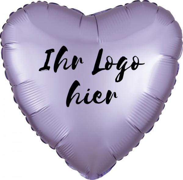 "Folien-Werbeballon Herz Satin Luxe Pastel Lilac 45cm/18"" 1-Seitig bedruckt"