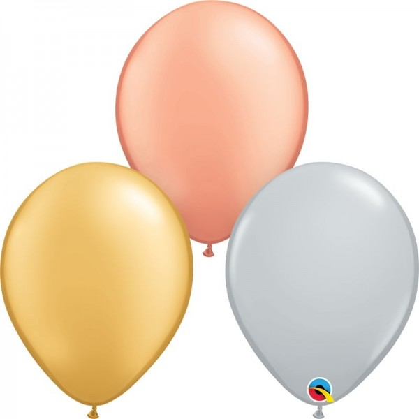 "Qualatex Latexballon Tri-Color Metallic Assortment 28cm/11"" 100 Stück"