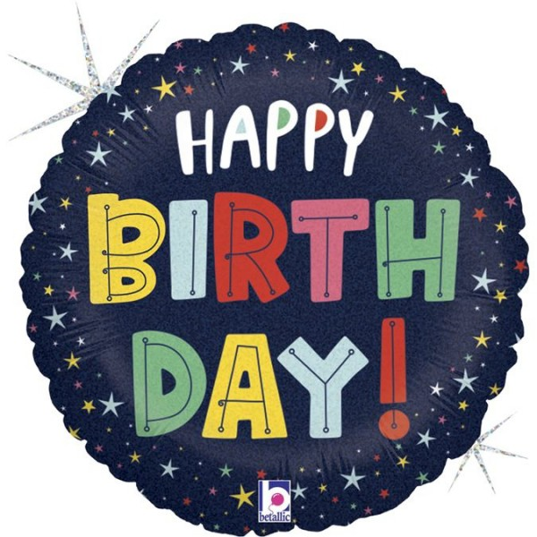 "Betallic Folienballon Birthday Colorful Stars 45cm/18"""