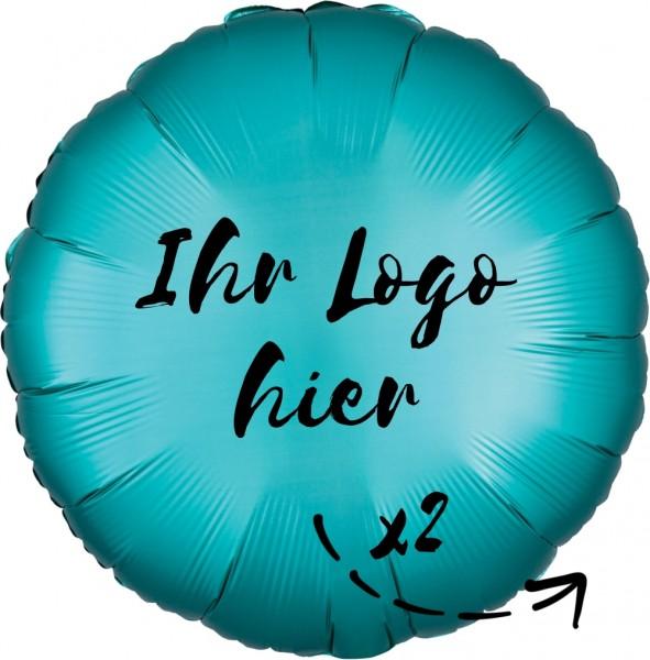 """Folien-Werbeballon Rund Satin Luxe Jade 45cm/18"""" 2-Seitig bedruckt"""