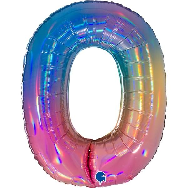 """Grabo Folienballon Zahl 0 Colourful Rainbow 100cm/40"""""""