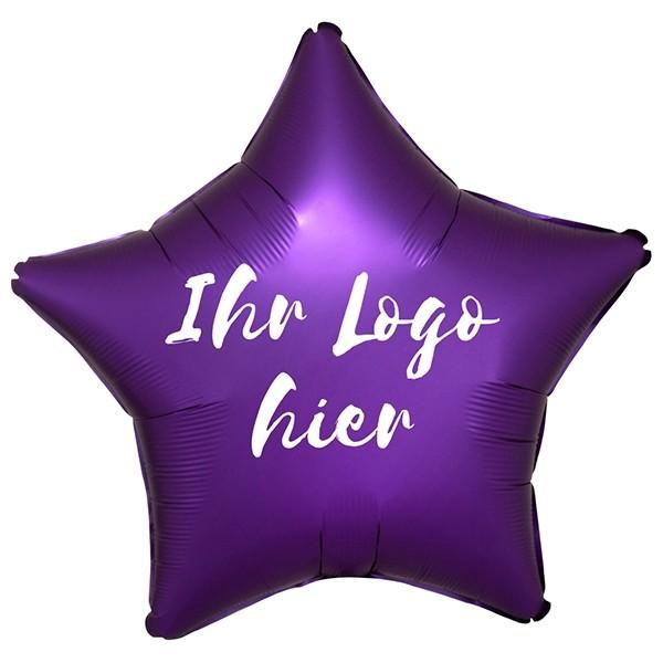 "Folien-Werbeballon Stern Satin Luxe Purple Royale 50cm/20"" 1-Seitig bedruckt"
