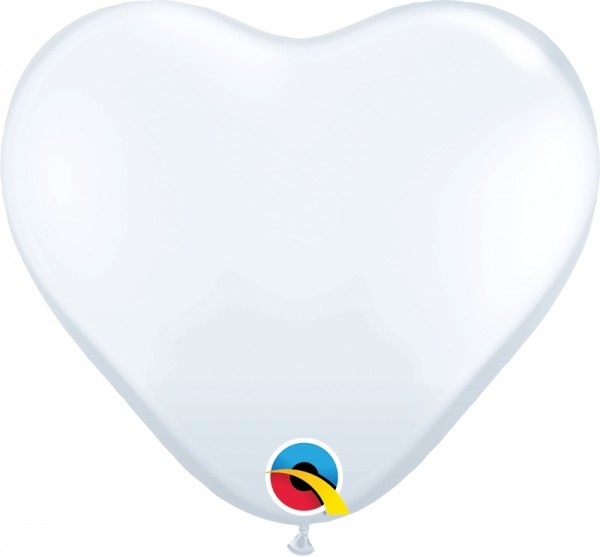 "Qualatex Latexballon Standard White Heart 15cm/6"" 100 Stück"