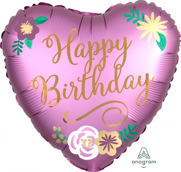 "Anagram Folienballon Satin Herz ""Happy Birthday"" Pink & Gold 45cm/18"""