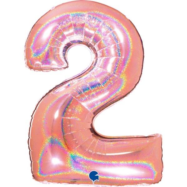 """Grabo Folienballon Zahl 2 Glitter Holographic Rose 100cm/40"""""""