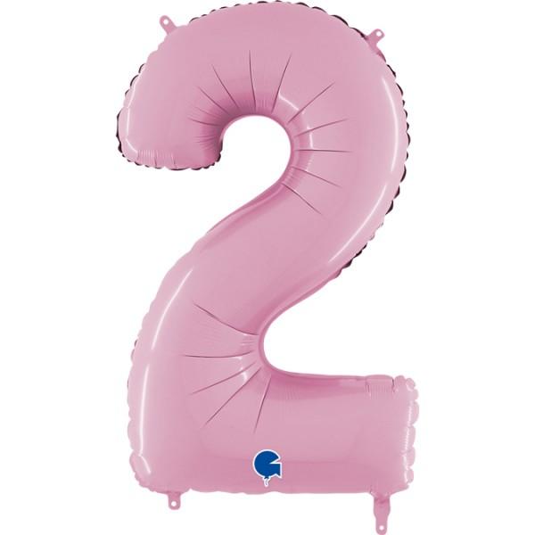 """Grabo Folienballon Zahl 2 Pastel Pink 66cm/26"""""""