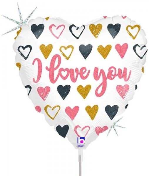 "Betallic Folienballon Rose Gold Heart I Love You Glitter Holographic 23cm/9"" luftgefüllt inkl. Stab"