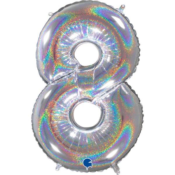 """Grabo Folienballon Zahl 8 Glitter Holographic Silver 66cm/26"""""""