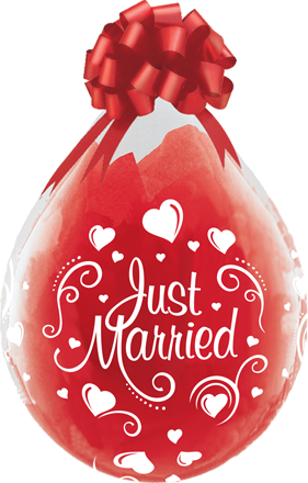"Qualatex Verpackungsballon Just Married Hearts Diamond Clear 45cm/18"" 25 Stück"