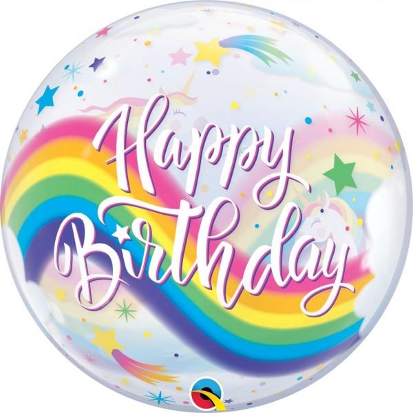 "Qualatex Bubbles Birthday Rainbow Unicorns 55cm/22"""