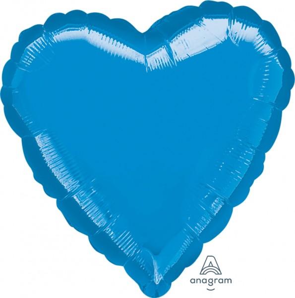 "Anagram Folienballon Jumbo Herz Metallic Blue 80cm/32"""