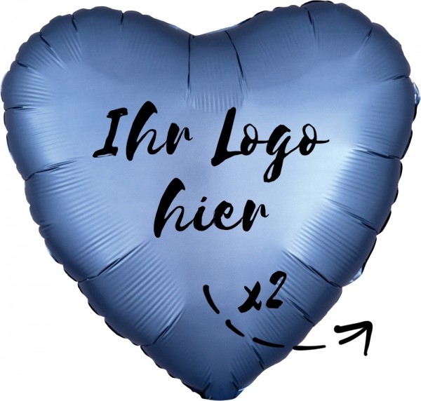 "Folien-Werbeballon Herz Satin Luxe Steel Blue 45cm/18"" 2-Seitig bedruckt"