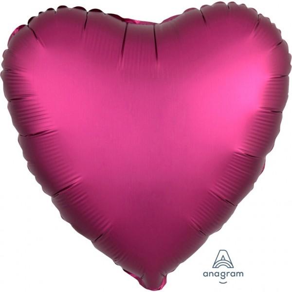 Anagram Folienballon Herz 45cm Durchmesser Satin Pink (Pomegranate)