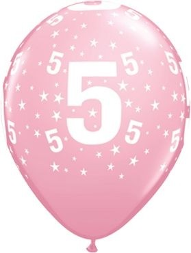 "Qualatex Latexballon Age 5 Stars Pink 28cm/11"" 6 Stück"