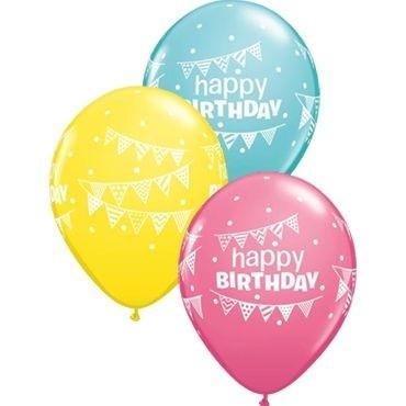 "Qualatex Latexballon Birthday Pennants & Dots Assorted Caribbean Blue, Rose & Yellow 28cm/11"" 25 Stück"