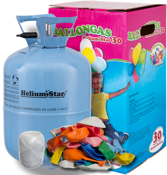 Helium Ballongas Set: Helium & 30 Bunte Latexballons (Ø 25cm)