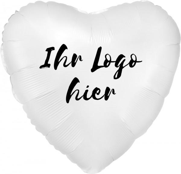"""Folien-Werbeballon Herz Satin Luxe White 45cm/18"""" 1-Seitig bedruckt"""