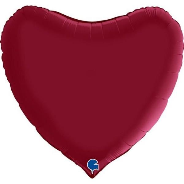 "Grabo Folienballon Herz Satin Cherry 90cm/36"""