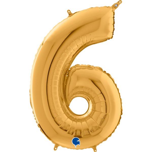 "Grabo Folienballon Zahl 6 Gold 66cm/26"""