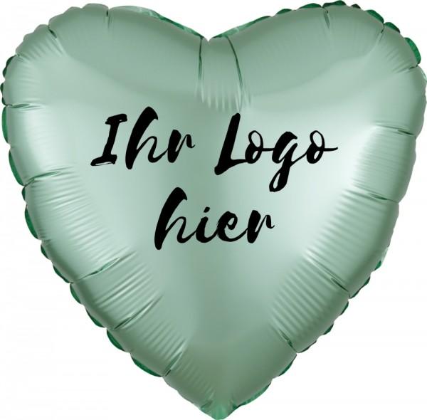 """Folien-Werbeballon Herz Satin Luxe Mint Green 45cm/18"""" 1-Seitig bedruckt"""
