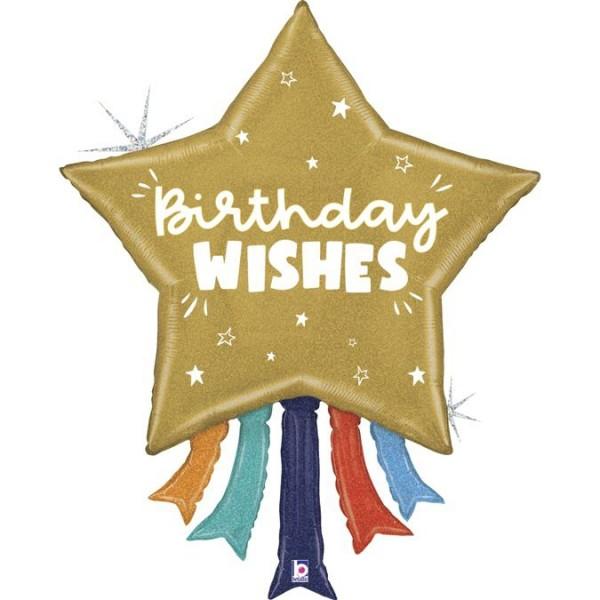 "Betallic Folienballon Birthday Wishes Star 109cm/43"""