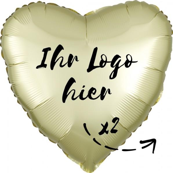 "Folien-Werbeballon Herz Satin Luxe Pastel Yellow 45cm/18"" 2-Seitig bedruckt"