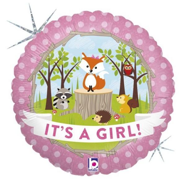 "Betallic Folienballon Woodland Baby Girl Holographic 45cm/18"""