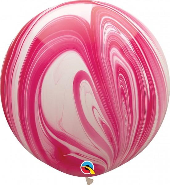 "Qualatex Latexballon Red & White SuperAgate 75cm/30"" 2 Stück"