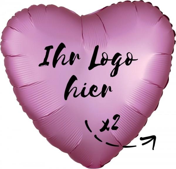 "Folien-Werbeballon Herz Satin Luxe Flamingo 45cm/18"" 2-Seitig bedruckt"