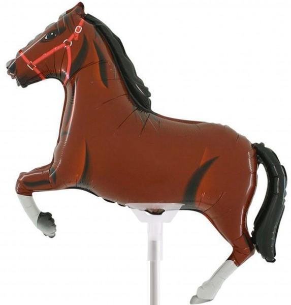 """Grabo Folienballon Horse Dark Brown 35cm/14"""" luftgefüllt mit Stab"""