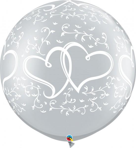 "Qualatex Latexballon Entwined Hearts Metallic Silver 75cm/30"" 2 Stück"