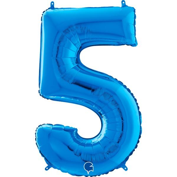 "Grabo Folienballon Zahl 5 Blue 66cm/26"""