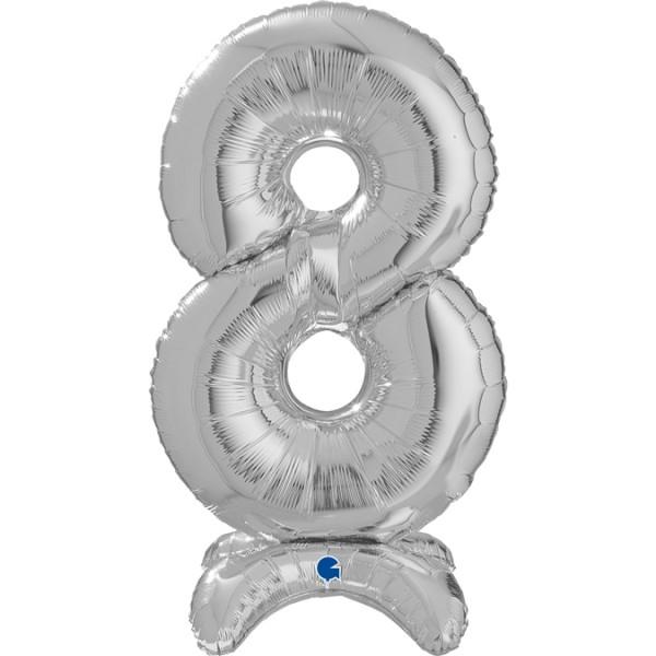 "Grabo Folienballon Zahl 8 Silver standups 64cm/25"""