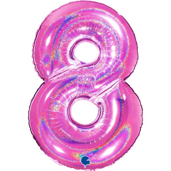"""Grabo Folienballon Zahl 8 Glitter Holographic Fuxia 100cm/40"""""""