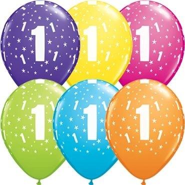 "Qualatex Latexballon Stars 1-A-Round Tropical Assortment 28cm/11"" 25 Stück"