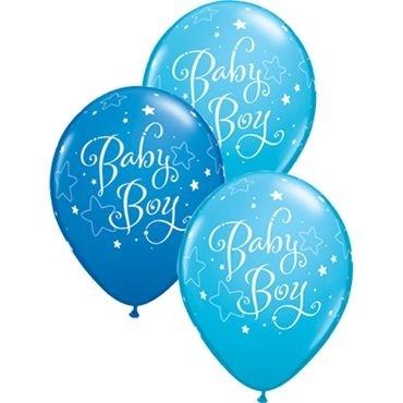 "Qualatex Latexballon Baby Boy Stars Assorted Dark Blue & Robin's Egg Blue 28cm/11"" 25 Stück"