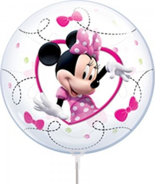 "Qualatex Air Bubbles Minnie Mouse 30cm/12"" luftgefüllt inkl. Stab"