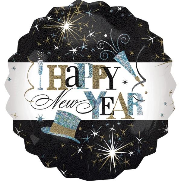 "Anagram Folienballon Rund ""Happy New Year!"" Elegant Celebration Holo 70cm/27"""