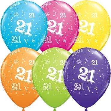 "Qualatex Latexballon Age 21 Retail Sortiment 28cm/11"" 6 Stück"