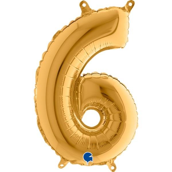 "Grabo Folienballon Zahl 6 Gold 35cm/14"""