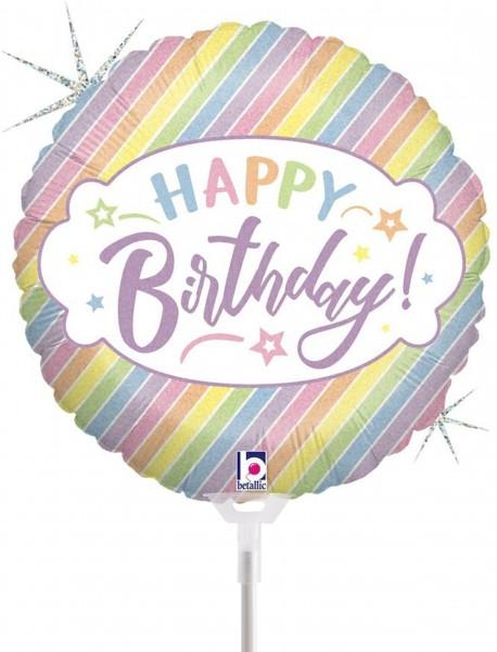 "Betallic Folienballon Pastel Birthday 23cm/9"" luftgefüllt inkl. Stab"
