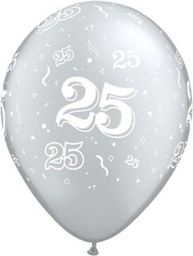 "Qualatex Latexballon 25 Metallic Silver 28cm/11"" 25 Stück"