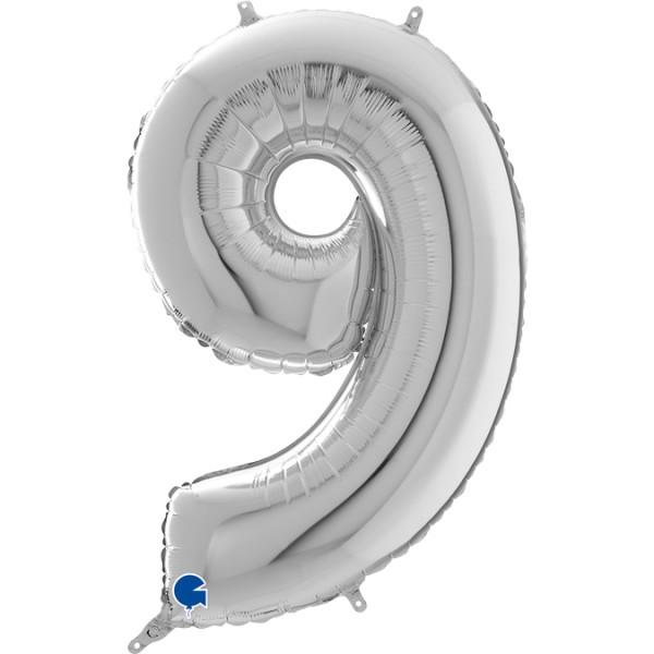 """Grabo Folienballon Zahl 9 Silver 66cm/26"""""""