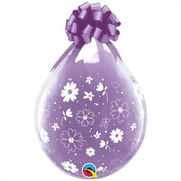 """Qualatex Verpackungsballon Daisies & Dots-A-Round Diamond Clear 45cm/18"""" 25 Stück"""