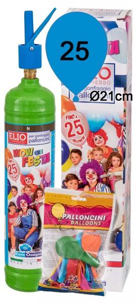 Luftballon Helium Set: Helium & 25 bunte Latexballons (Ø 21cm)