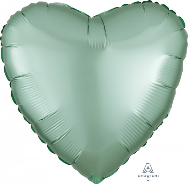 Anagram Folienballon Herz Satin Luxe Pastel Mint Green 45cm/18""